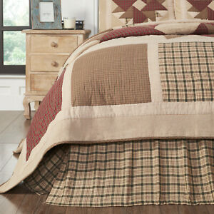 VHC Cider Mill Khaki Red Hunter Green Plaid Country Farmhouse Gathered Bed Skirt