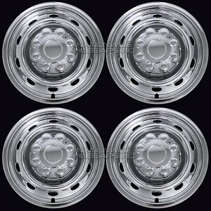 "4 fits Dodge Ram 17"" Chrome 8 Lug Wheel Skins Hub Caps Simulators Center Covers"