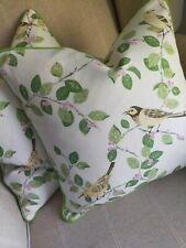 """2 Laura Ashley Aviary Garden Fabric Cushion Covers Piped 16""""   Pink/Green"""