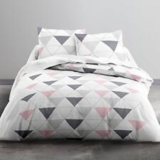 Today Parure de lit 2 personnes taies D'oreiller coton Blanc/gris/rose ...