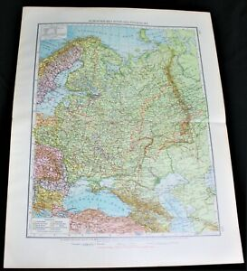 GERMAN ATLAS MAP PAGE PLATES OF EUROPEAN RUSSIA VINTAGE PRE WWI EARLY 1900s
