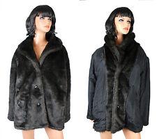 Reversible Faux Fur Coat Sz XL Tudor Court Haband Dark Brown Silk Winter Jacket