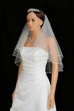 2T White Bridal Short Length 30 Rhinestones Pencil Center Gathered Wedding Veil