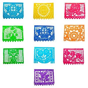 Papel Picado Banner Fiesta Party Plastic Mexico 16ft long (5m)