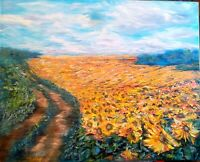 Sunflowers Field Impasto Art Original Oil Painting Canvas 32/39 Artist Svinar Ok