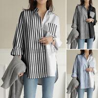 ZANZEA UK Womens Blouse Cotton Striped Casual Loose Long Sleeve Shirt Tops Plus