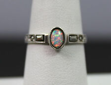 Sterling Silver Opal And Marcasite Ring Size 7.5