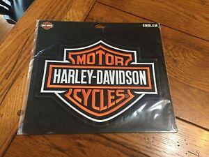 """NEW HARLEY DAVIDSON LARGE EMBLEM SEW ON PATCH VEST JACKET ORANGE BLACK 9""""X7 1/2"""""""