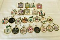 25 Hand Embroidered Christmas Tree Ornaments Square Round Gold Frames Bells Cand