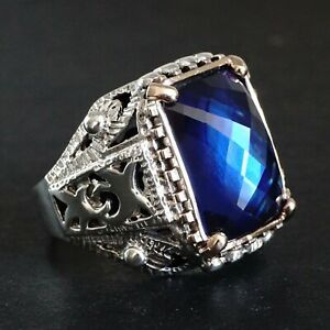 925 Sterling Silver Mens Ring Blue Sapphire Unique Artisan Jewelry size 11