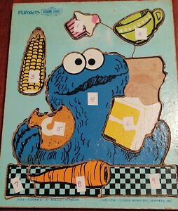 Wooden Puzzle Sesame Street Cookie Monster 1973 Playskool 9 Replacement Pieces