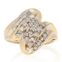 .36ctw Round Brilliant Diamond Ring - 10k Yellow Gold Cluster Bypass 9 1/4