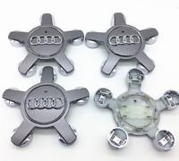 Silber 4 x 135mm Alufelgen Felgendeckel Nabenkappen Silver Wheel Cap für AUDI