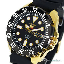 Seiko 5 Sports Auto Black & Gold Tone Divers Strap SRP608J1