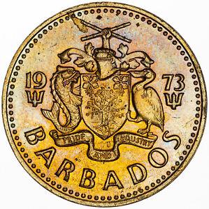 1973 BARBADOS FIVE 5 CENTS VIBRAINT UNIQUE GOLD MULTI COLOR TONED PROOF GEM