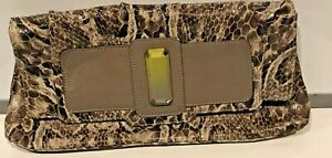 Ripani Womens Croc Make up Cosmetic Bag Purse Clutch Embossed Leather Made Italy