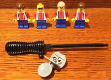 LOT of (4)  LEGO Soccer Football Red Blue Minifigs Players Goalie Stick & Stand