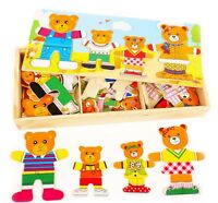Baby Educational Toys Bear Changing Clothes Puzzle Set Children Kids Wooden Gift