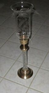 """Solid BRASS Free Standing CANDLE HOLDER w/Floral Etched Glass Votive Cup 20"""" H."""