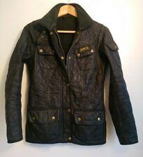 Ladies Barbour International Black Quilted Jacket Size UK 8 Polarquilt Fleece