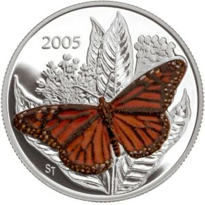 Monarch Butterfly - 2005 Canada 50 cent Sterling Silver Coin