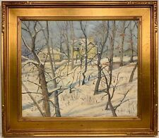 Signed AMERICAN IMPRESSIONIST WINTER LANDSCAPE PAINTING Snow Scene PA NY NJ