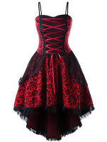Gothic Prom Dress Black VTG Steampunk Victorian Lace Up Evening Formal XL-5XL