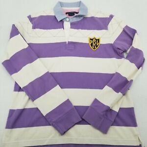 Polo Ralph Lauren Sport Women's Rugby Purple White Stripe Patch Size XL
