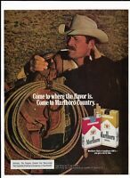 1977 Marlboro Cigarettes Print Ad ~ Cowboy & Lasso ~ Come to Marlboro Country.