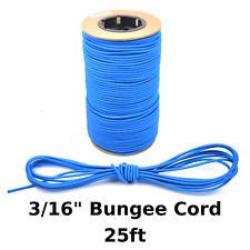 "25ft 3/16"" Blue Bungee Cord Marine Grade Heavy Duty Shock Rope Tie Down Stretch"