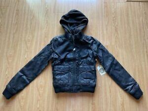 Obey JEALOUS LOVER Vintage Goat Black Faux Leather Fleece Hooded Bomber Jacket S