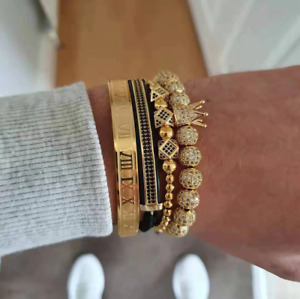 New Luxury Gold Mens Bracelets Set Hip Hop Jewelry Stainless Steel Roman Bangles