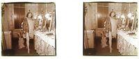 Femme Actrice Photo PL47L6 Stereo Plaque de verre Vintage c1920