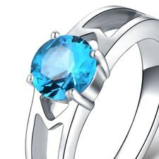 BLUE  ~ CZ  ~ S/STEEL ~ SIZE:8 ~  RING -- (GREAT_CHRISTMAS_GIFT)