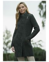 Women's Green Cable Knit Side Zip Aran Coat Z4631 Merino Wool - Made in Ireland