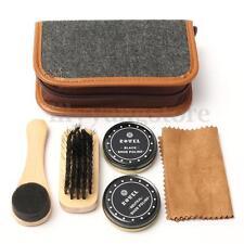 Shoe Shine Care Kit Black & Neutral Polish Brush Set Leather Shoes Boots Sneaker