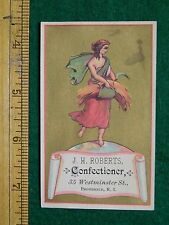 1870s-80s J H Roberts Confectioner Lady Hay & Sickle Victorian Trade Card F15