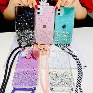 Sparkle Bling Glitter Lanyard Necklace Shoulder Strap Cell Phones Case Cover