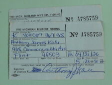 1980 Flint Michigan Conservation Department Husband & Wife Fishing License