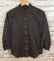 Lauren Ralph Lauren shirt blouse womens small button brown polkadot 3/4 slv W5