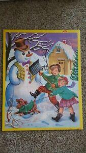 Vintage Christmas Snowman Jigsaw Tray Puzzle Jaymar 1960s USA #2564