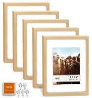 "CAVEPOP 11x14"" Mat 8x10"" Picture Frame 5 Pieces Set- Natural Wood"