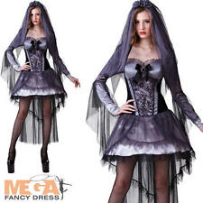 Ghost Bride Ladies Halloween Fancy Dress Wedding Horror Womens Adult Costume New