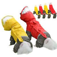 Dog Coat Hoodie Waterproof Jacket Raincoat Small Medium Pet Reflective Rainwear