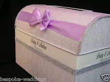 BEAUTIFUL DELUXE Wedding Post Box Chest Vintage Lace Crystals ALL COLOURS