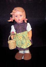 """Vintage Era Mi Hummel Goebel 12"""" Vinyl Doll Girl with Basket & Flowers & Stand"""