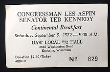 Ted Kennedy & Les Aspin Signed Breakfast Ticket From 1972