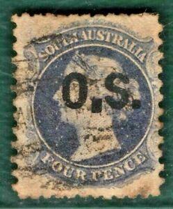 SOUTH AUSTRALIA States Official SG.O3var 4d *LARGE STOP* (1875) Used BLACK384