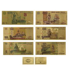WR Russia 5 -1000 Rubles Bank Notes 24K Gold Plated Banknote Set /w Certificate