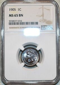 NGC MS-65 BN 1905 Indian Head Cent, Attractive, wood-grain toned specimen.